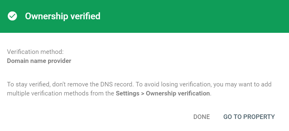 Google Search Console ownership verified modal