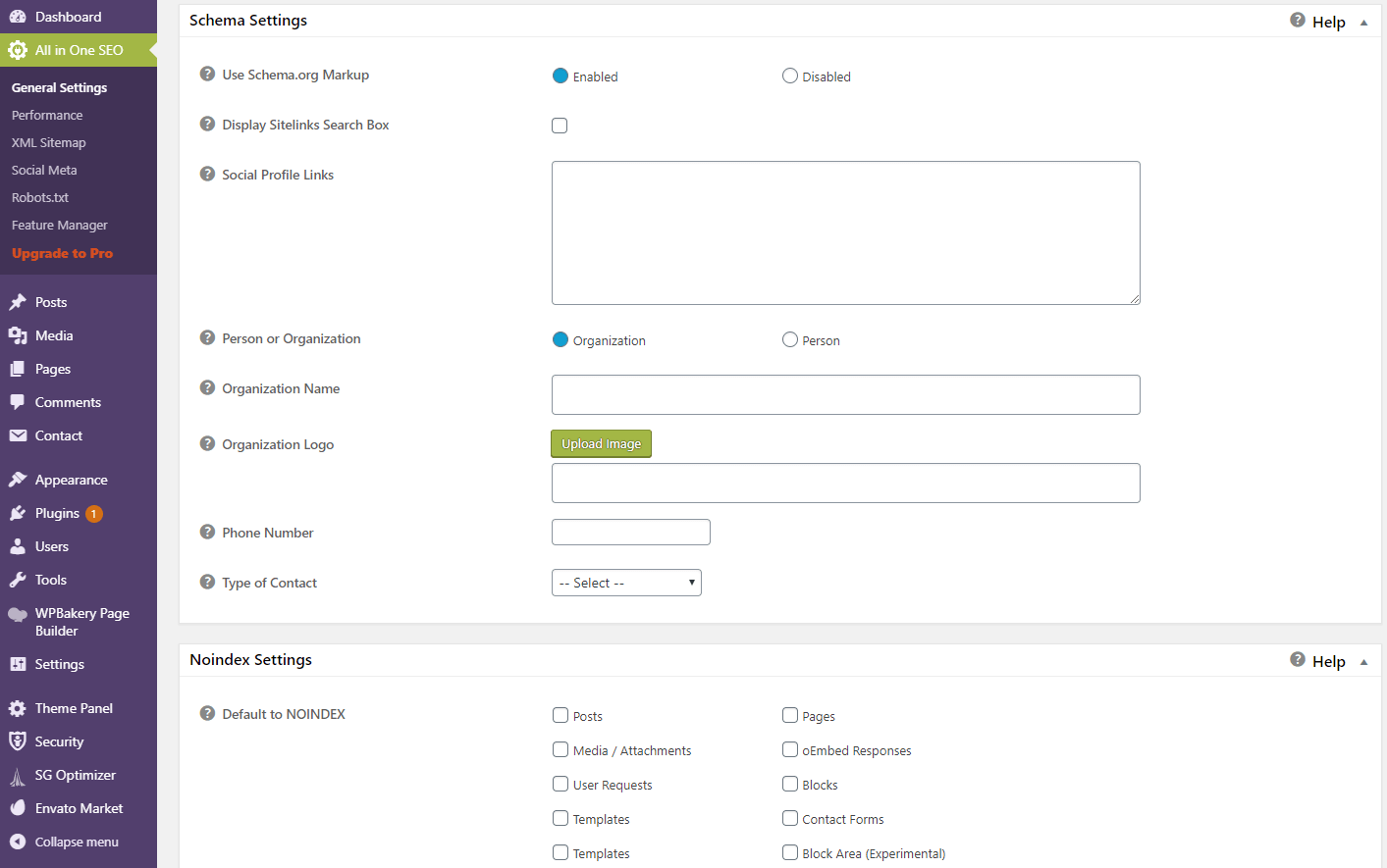 All In One SEO Pack Schema Settings