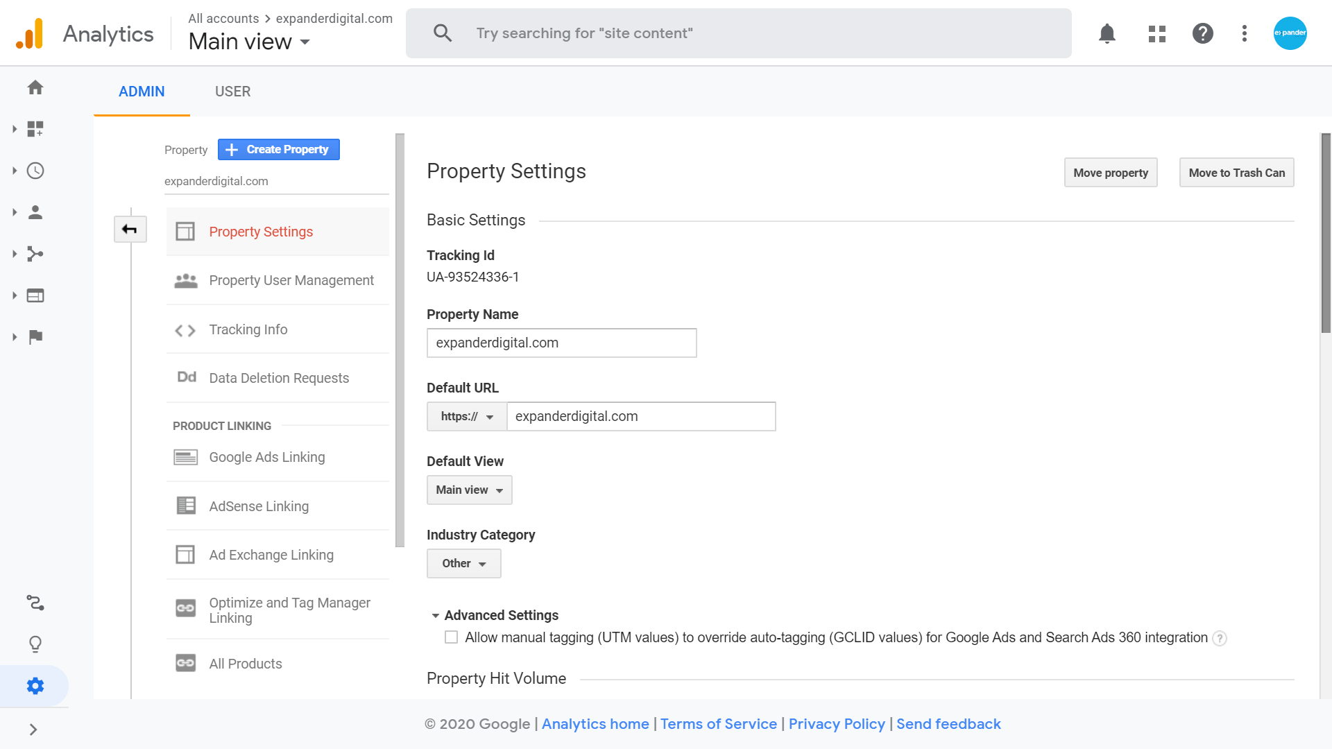 Tracking ID on Google Analytics