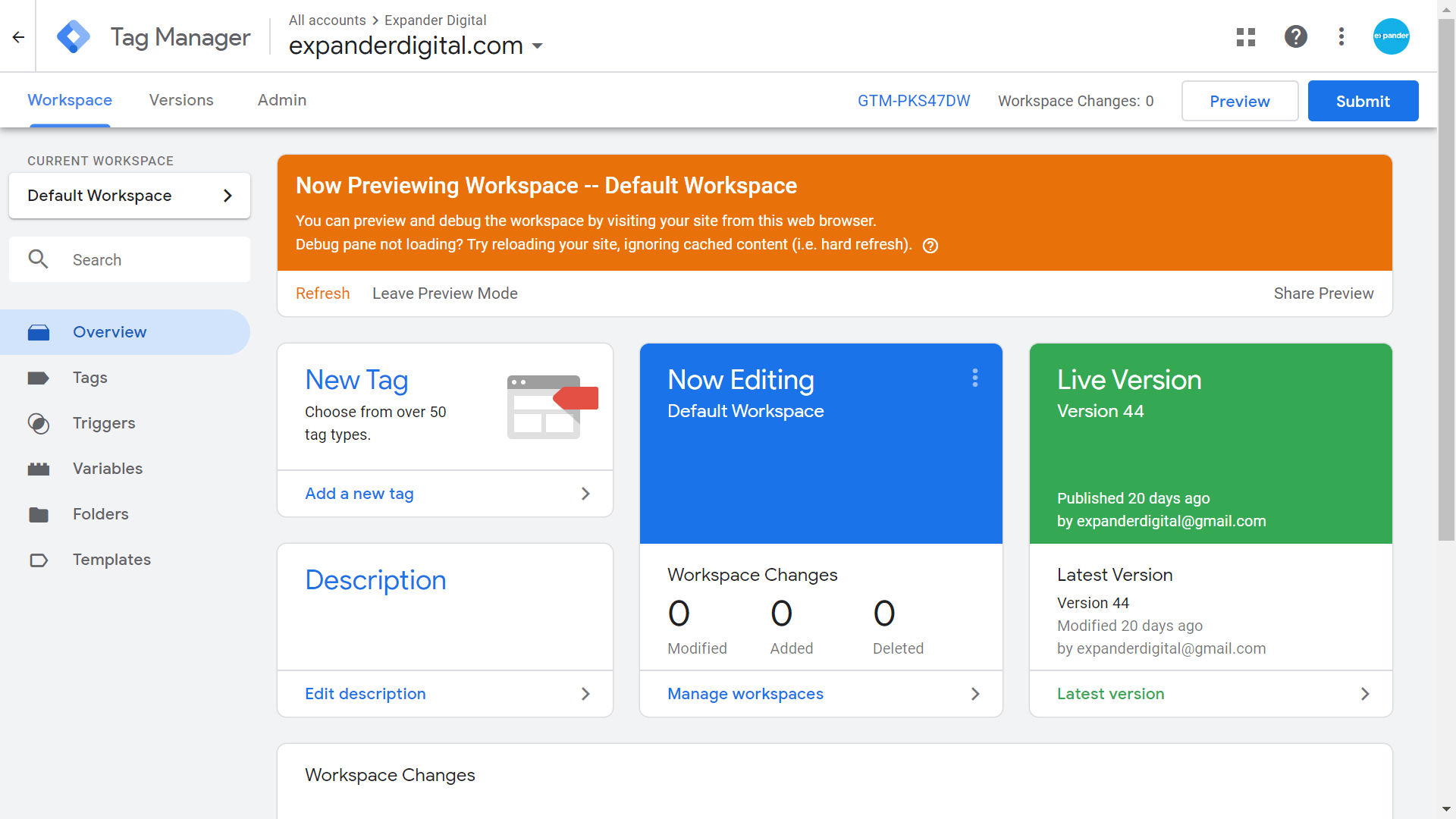 Preview mode in Google Tag Manager