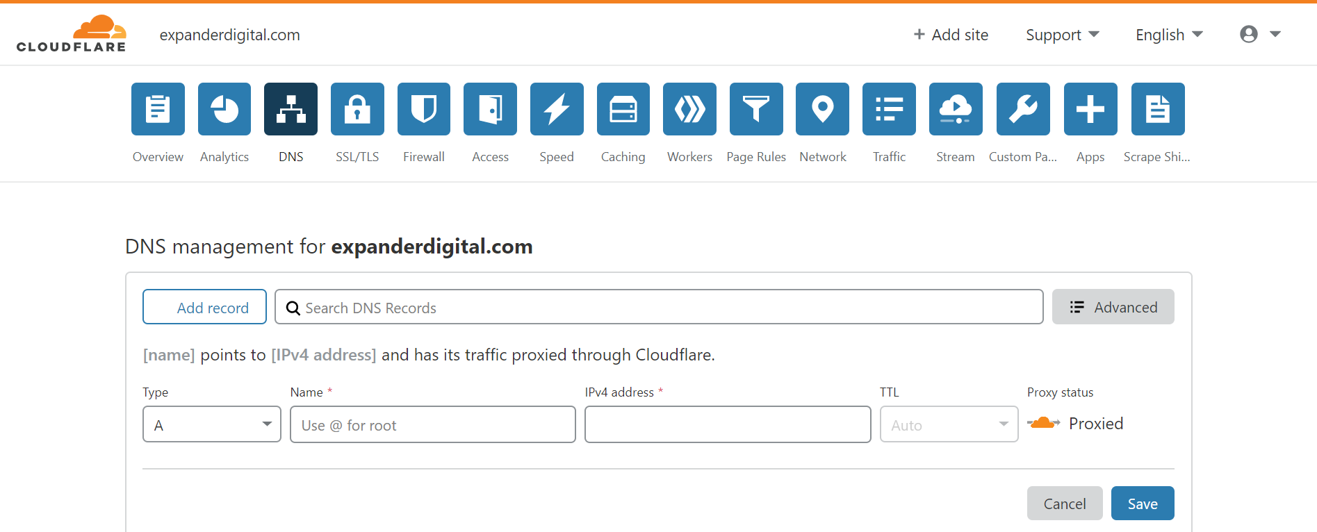 Cloudflare DNS section