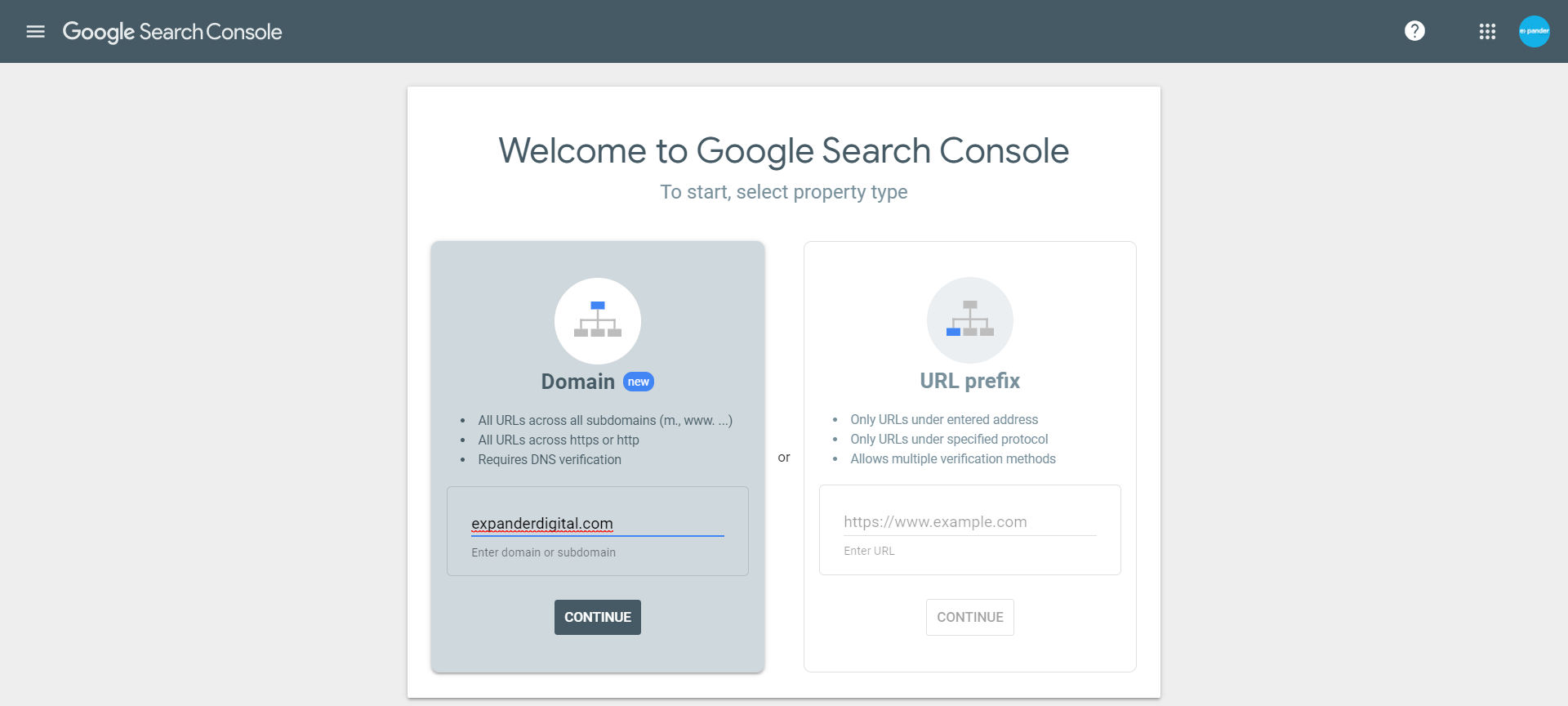 Domain verification in Google Search Console