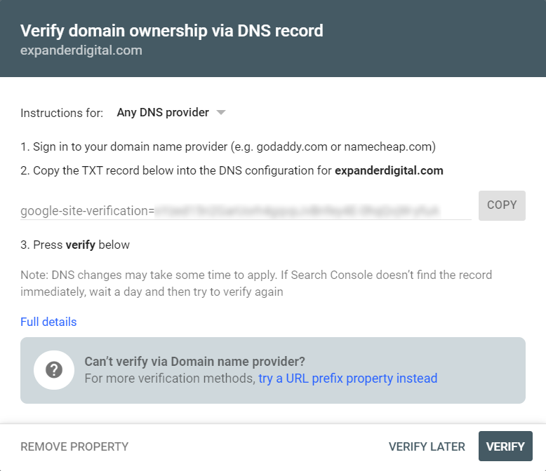Domain verification code in Google Search Console
